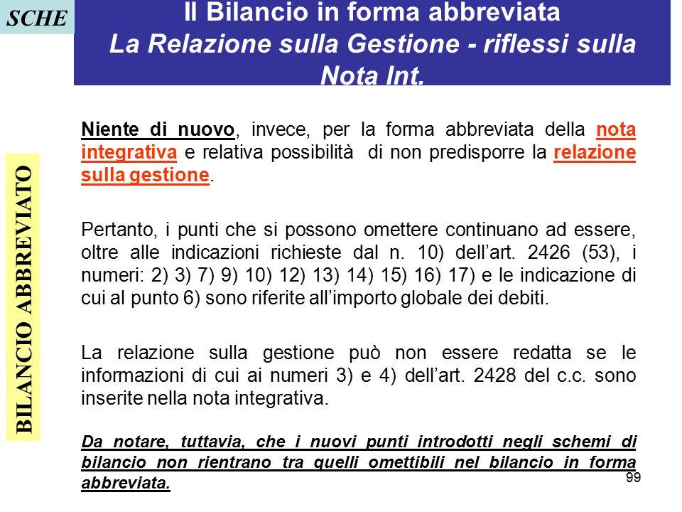 99 Il Bilancio in forma abbreviata La Relazione sulla Gestione - riflessi sulla Nota Int. Niente di nuovo, invece, per la forma abbreviata della nota