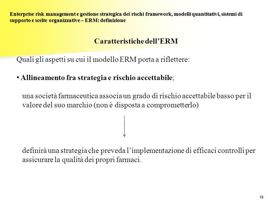 14 Enterprise risk management e gestione strategica dei rischi framework, modelli quantitativi, sistemi di supporto e scelte organizzative – ERM: defi