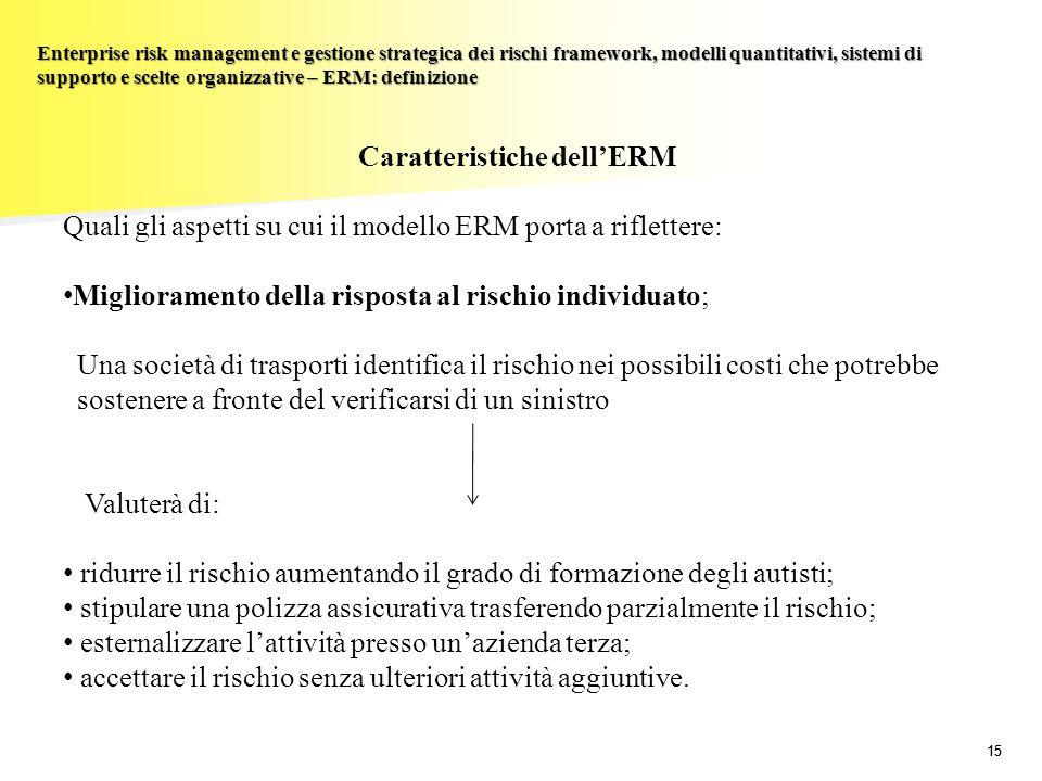 15 Enterprise risk management e gestione strategica dei rischi framework, modelli quantitativi, sistemi di supporto e scelte organizzative – ERM: defi