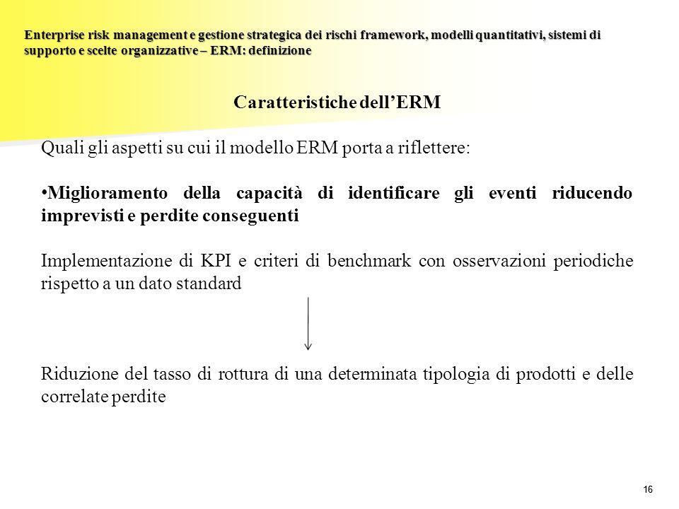 16 Enterprise risk management e gestione strategica dei rischi framework, modelli quantitativi, sistemi di supporto e scelte organizzative – ERM: defi