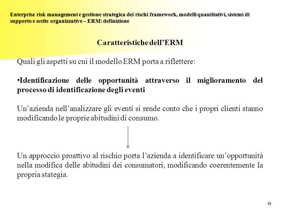 19 Enterprise risk management e gestione strategica dei rischi framework, modelli quantitativi, sistemi di supporto e scelte organizzative – ERM: defi