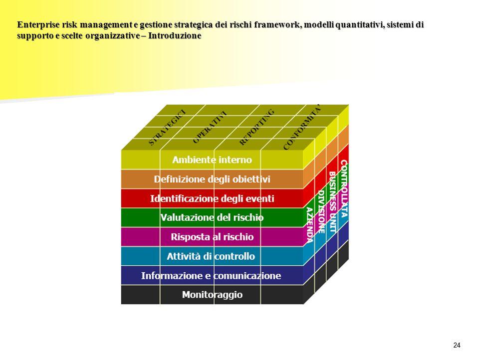 24 Enterprise risk management e gestione strategica dei rischi framework, modelli quantitativi, sistemi di supporto e scelte organizzative – Introduzi
