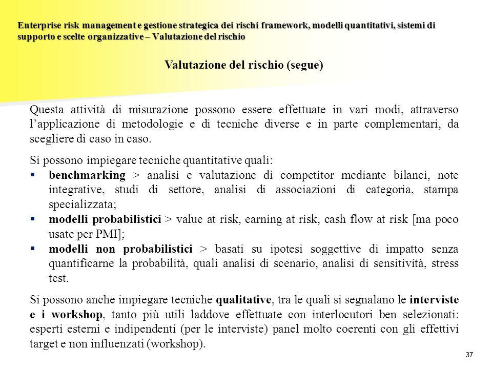 37 Enterprise risk management e gestione strategica dei rischi framework, modelli quantitativi, sistemi di supporto e scelte organizzative – Valutazio