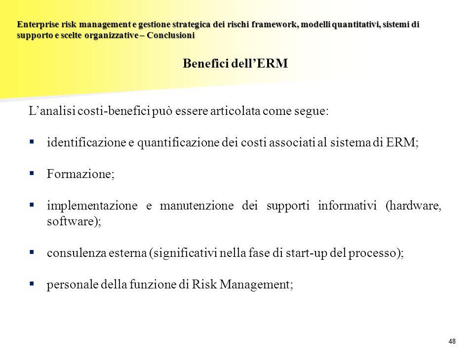 48 Enterprise risk management e gestione strategica dei rischi framework, modelli quantitativi, sistemi di supporto e scelte organizzative – Conclusio