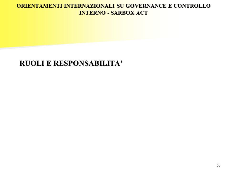 55 ORIENTAMENTI INTERNAZIONALI SU GOVERNANCE E CONTROLLO INTERNO - SARBOX ACT RUOLI E RESPONSABILITA'