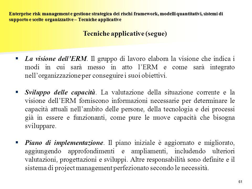 61 Enterprise risk management e gestione strategica dei rischi framework, modelli quantitativi, sistemi di supporto e scelte organizzative – Tecniche