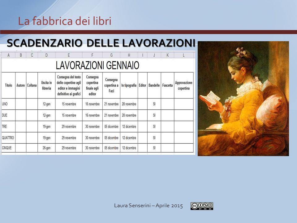 SCADENZARIO DELLE LAVORAZIONI La fabbrica dei libri Laura Senserini – Aprile 2015