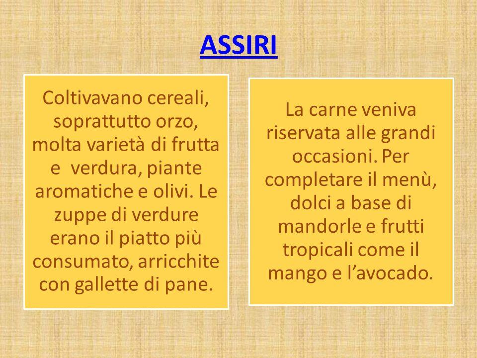 ASSIRI Coltivavano cereali, soprattutto orzo, molta varietà di frutta e verdura, piante aromatiche e olivi. Le zuppe di verdure erano il piatto più co