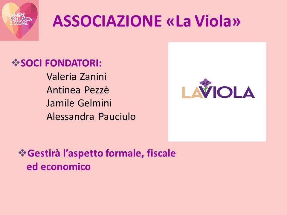 ASSOCIAZIONE «La Viola»  SOCI FONDATORI: Valeria Zanini Antinea Pezzè Jamile Gelmini Alessandra Pauciulo  Gestirà l'aspetto formale, fiscale ed economico