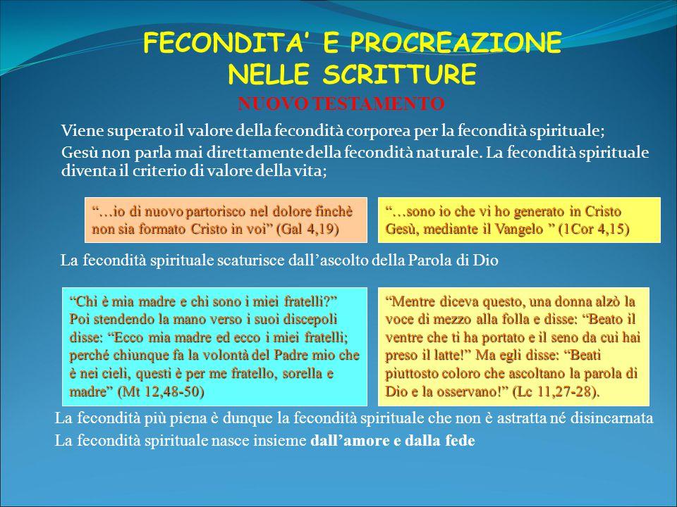FECONDITA' E PROCREAZIONE NELLE SCRITTURE Viene superato il valore della fecondità corporea per la fecondità spirituale; Gesù non parla mai direttamen