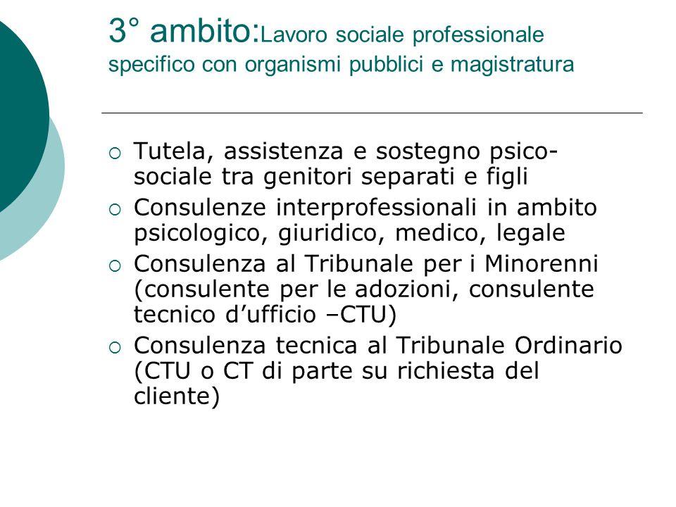 4° ambito: Lavoro sociale professionale clinico  Counseling  Valutazione e diagnosi  Sostegno e guida ai problemi quotidiani