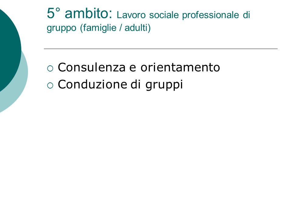 5° ambito: Lavoro sociale professionale di gruppo (famiglie / adulti)  Consulenza e orientamento  Conduzione di gruppi