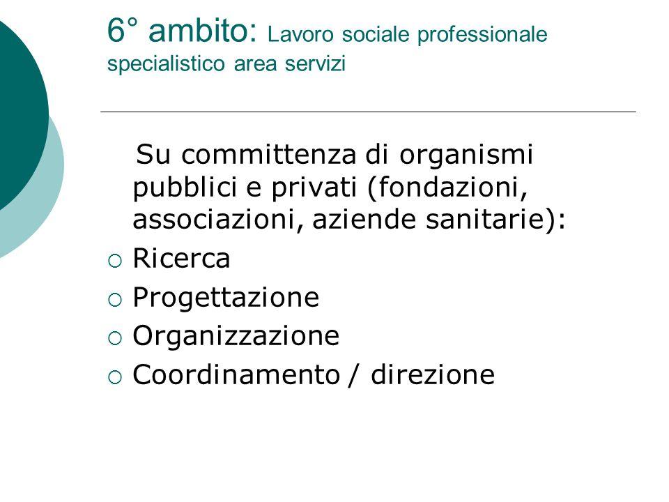 6° ambito: Lavoro sociale professionale specialistico area servizi Su committenza di organismi pubblici e privati (fondazioni, associazioni, aziende sanitarie):  Ricerca  Progettazione  Organizzazione  Coordinamento / direzione