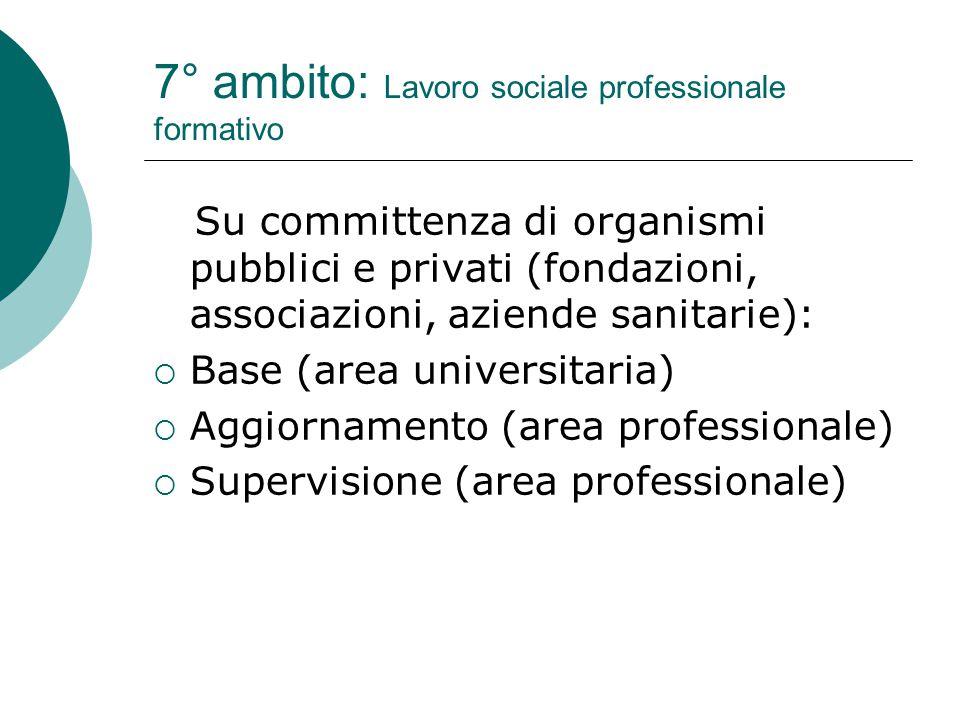 7° ambito: Lavoro sociale professionale formativo Su committenza di organismi pubblici e privati (fondazioni, associazioni, aziende sanitarie):  Base (area universitaria)  Aggiornamento (area professionale)  Supervisione (area professionale)