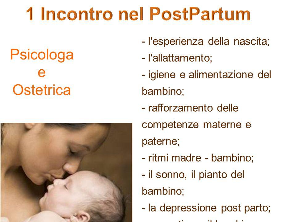- l'esperienza della nascita; - l'allattamento; - igiene e alimentazione del bambino; - rafforzamento delle competenze materne e paterne; - ritmi madr