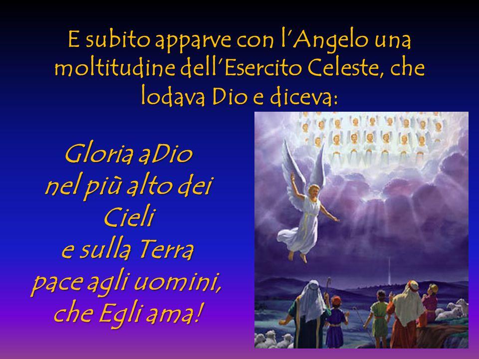 E subito apparve con l'Angelo una moltitudine dell'Esercito Celeste, che lodava Dio e diceva: Gloria aDio nel più alto dei Cieli e sulla Terra pace ag