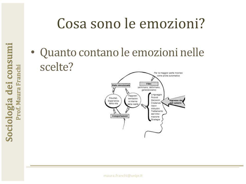 Quanto contano le emozioni nelle scelte? maura.franchi@unipr.it Cosa sono le emozioni?