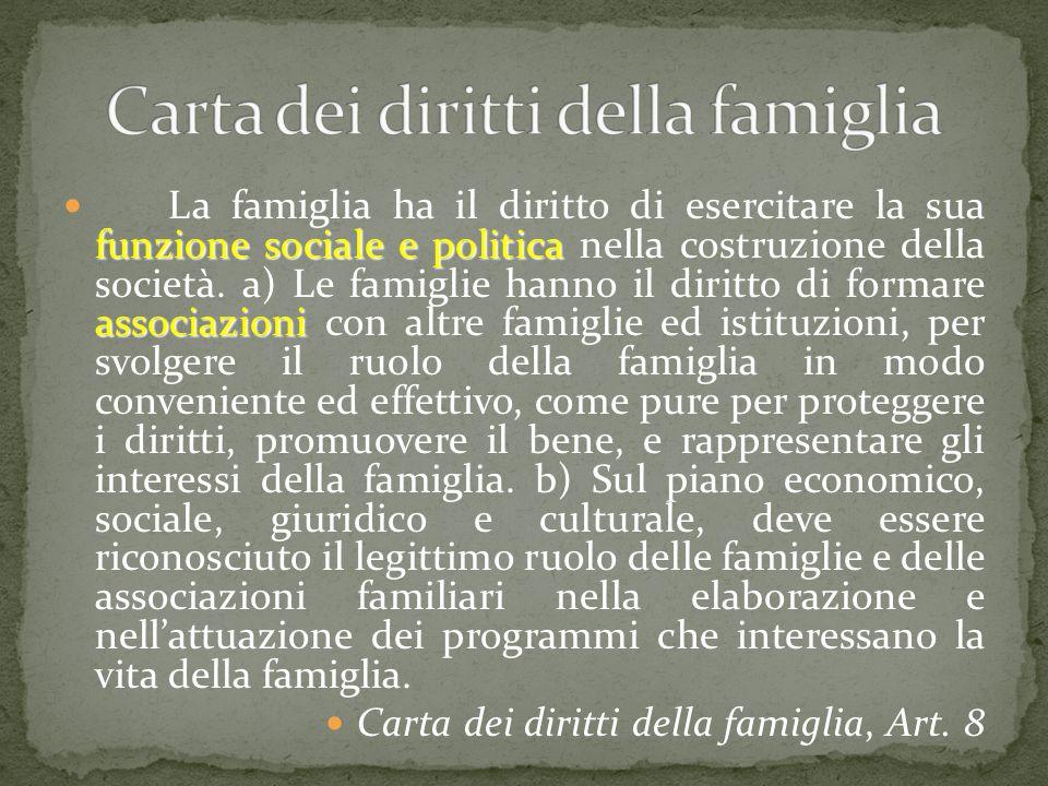 funzione sociale e politica associazioni La famiglia ha il diritto di esercitare la sua funzione sociale e politica nella costruzione della società. a