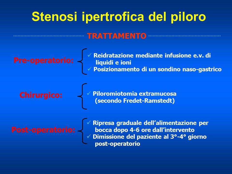 Stenosi ipertrofica del piloro TRATTAMENTO Reidratazione mediante infusione e.v. di liquidi e ioni Posizionamento di un sondino naso-gastrico Pre-oper
