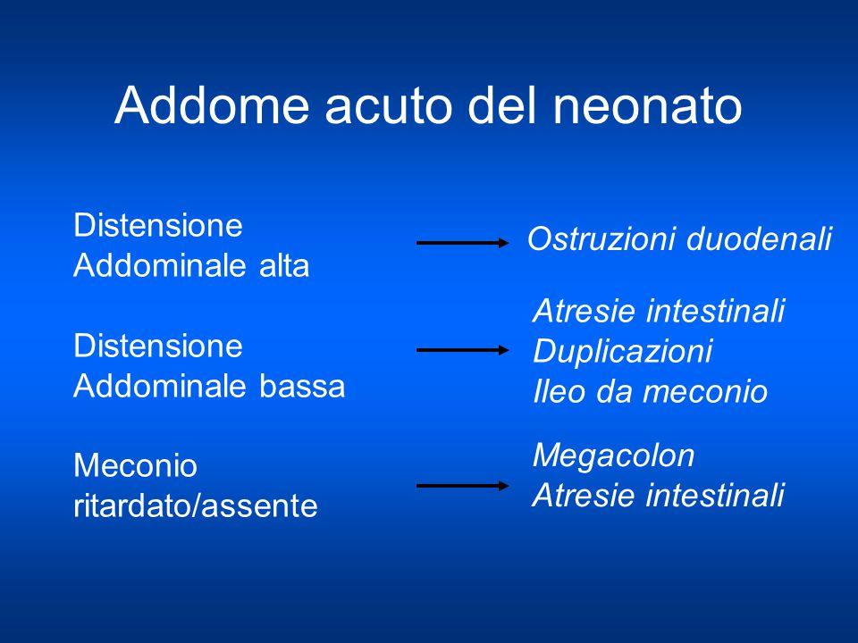 Addome acuto del neonato Distensione Addominale alta Distensione Addominale bassa Meconio ritardato/assente Ostruzioni duodenali Atresie intestinali D