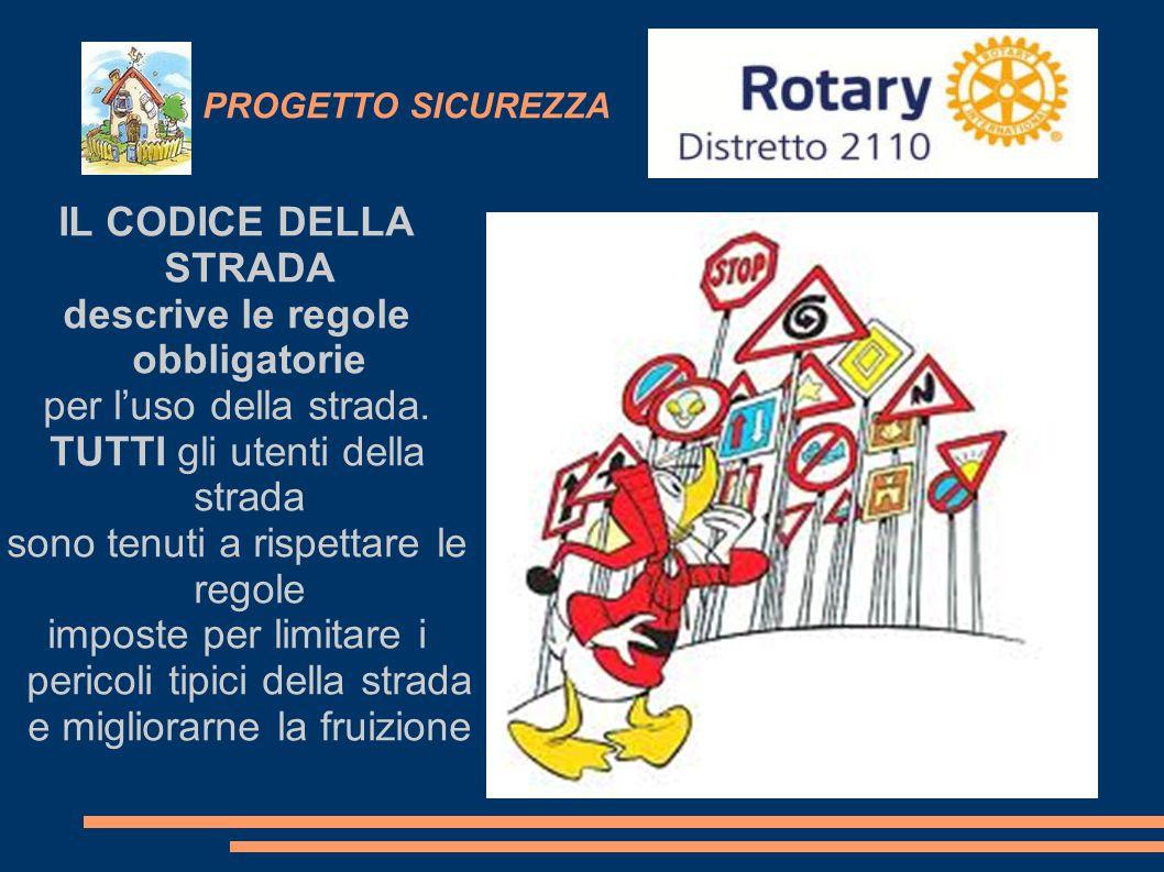 PROGETTO SICUREZZA IL CODICE DELLA STRADA descrive le regole obbligatorie per l'uso della strada. TUTTI gli utenti della strada sono tenuti a rispetta