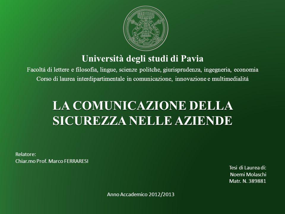 Università degli studi di Pavia Facoltá di lettere e filosofia, lingue, scienze politche, giurisprudenza, ingegneria, economia Corso di laurea interdi