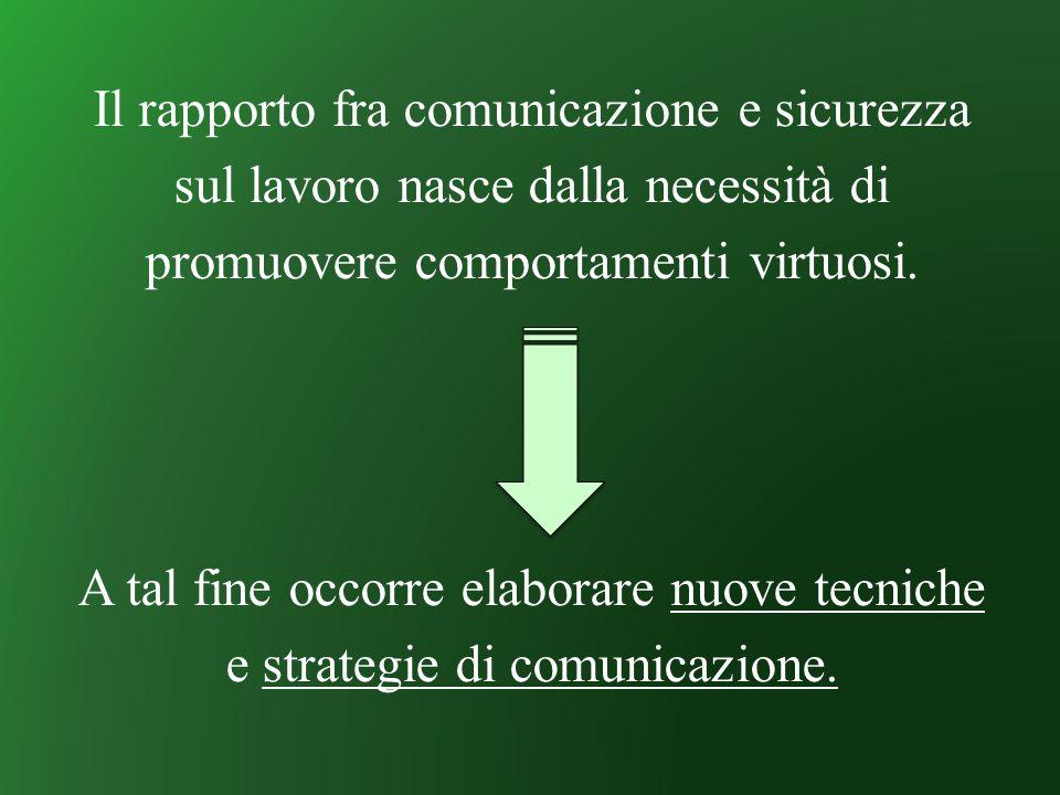 Il rapporto fra comunicazione e sicurezza sul lavoro nasce dalla necessità di promuovere comportamenti virtuosi. A tal fine occorre elaborare nuove te