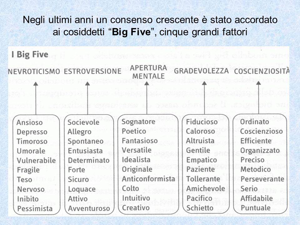 """Negli ultimi anni un consenso crescente è stato accordato ai cosiddetti """"Big Five"""", cinque grandi fattori"""