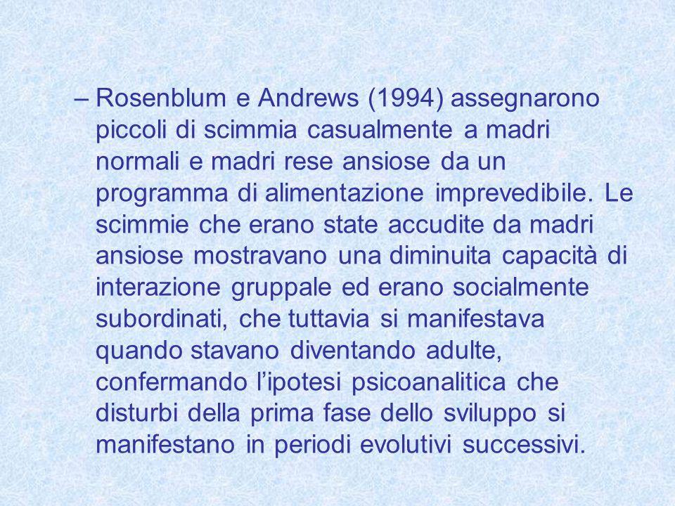 –Rosenblum e Andrews (1994) assegnarono piccoli di scimmia casualmente a madri normali e madri rese ansiose da un programma di alimentazione imprevedi