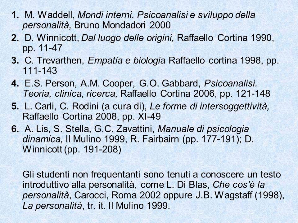 1. M. Waddell, Mondi interni. Psicoanalisi e sviluppo della personalità, Bruno Mondadori 2000 2. D. Winnicott, Dal luogo delle origini, Raffaello Cort