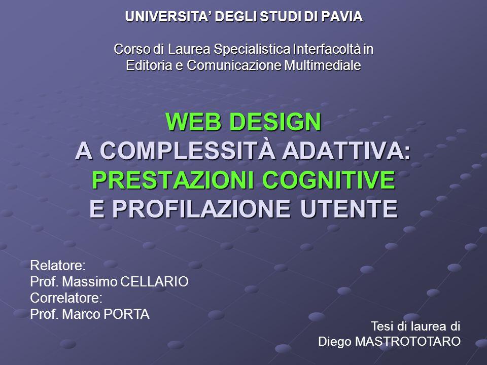 WEB DESIGN A COMPLESSITÀ ADATTIVA: PRESTAZIONI COGNITIVE E PROFILAZIONE UTENTE UNIVERSITA' DEGLI STUDI DI PAVIA Corso di Laurea Specialistica Interfac