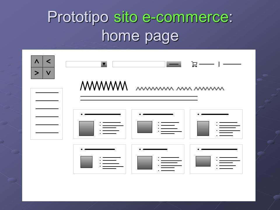Prototipo sito e-commerce: home page