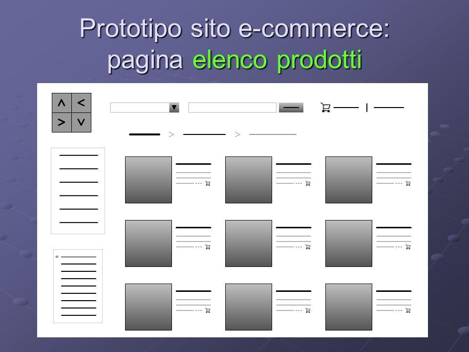 Prototipo sito e-commerce: pagina elenco prodotti