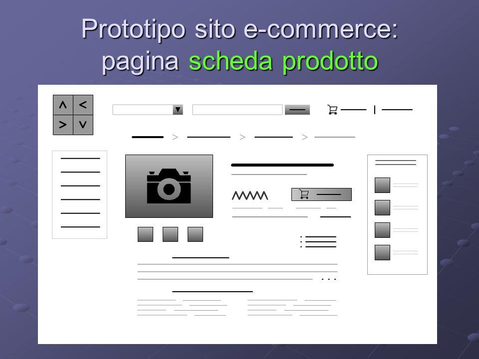 Prototipo sito e-commerce: pagina scheda prodotto