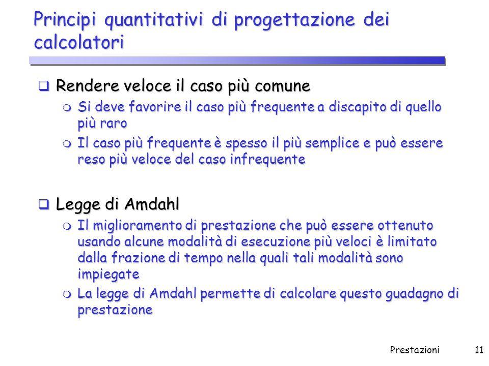 Prestazioni11 Principi quantitativi di progettazione dei calcolatori  Rendere veloce il caso più comune m Si deve favorire il caso più frequente a di