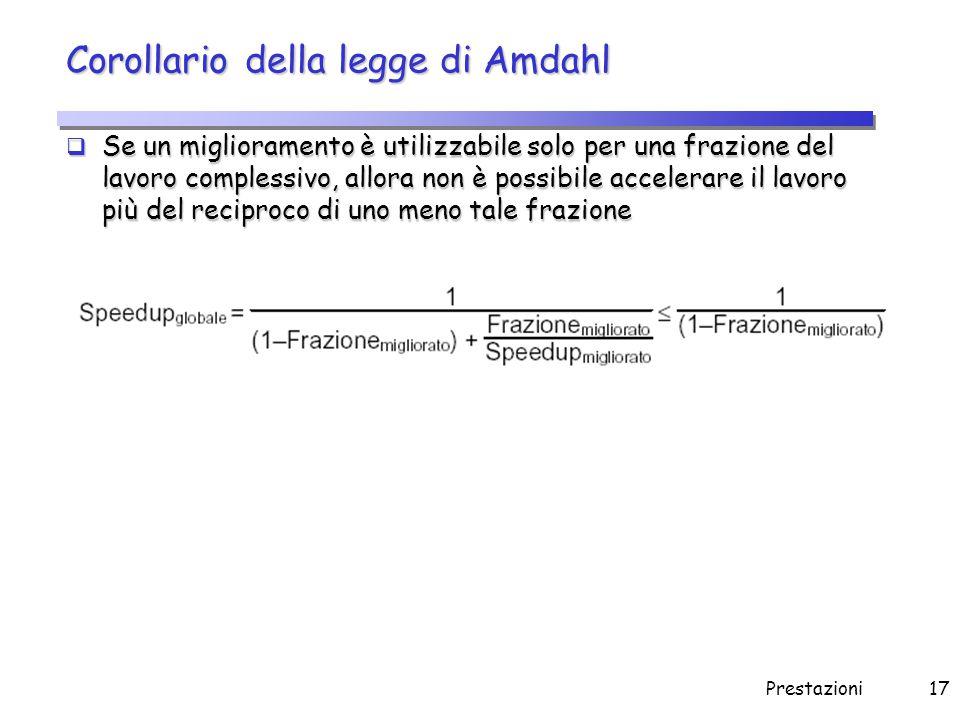 Prestazioni17 Corollario della legge di Amdahl  Se un miglioramento è utilizzabile solo per una frazione del lavoro complessivo, allora non è possibi