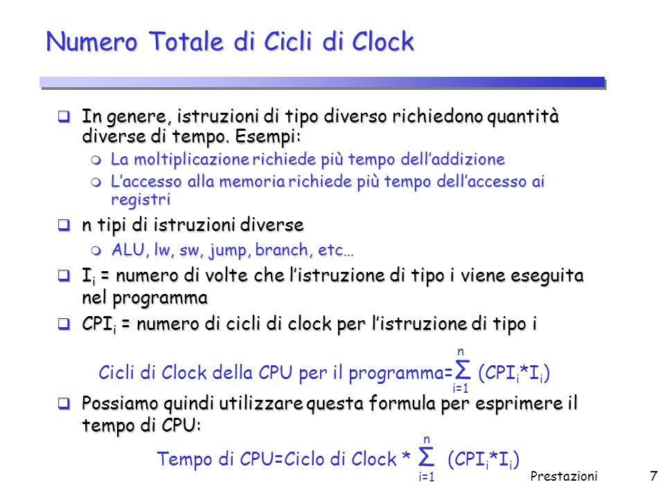 Prestazioni8 Cicli di Clock per Istruzione (CPI)  CPI: numero medio di cicli di clock per istruzione di un dato programma m Ogni singolo CPI i viene moltiplicato per la frazione delle occorrenze nel programma - f i =I i /Numero Istruzioni - delle istruzioni di tipo i  Riscriviamo il Tempo di CPU CPI = ( CPI i * f i ) Σ n i=1 Tempo di CPU = Numero Istruzioni * CPI Frequenza di Clock Tempo di CPU= Numero Istruzioni * CPI * Ciclo di Clock