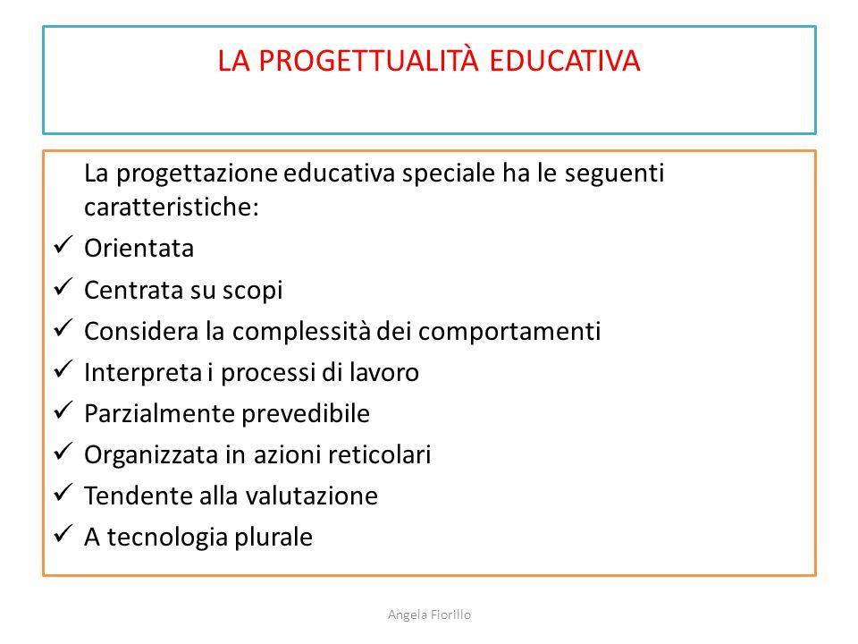 LA PROGETTUALITÀ EDUCATIVA La progettazione educativa speciale ha le seguenti caratteristiche: Orientata Centrata su scopi Considera la complessità de