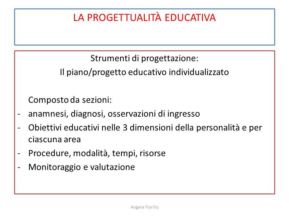 LA PROGETTUALITÀ EDUCATIVA Strumenti di progettazione: Il piano/progetto educativo individualizzato Composto da sezioni: -anamnesi, diagnosi, osservaz