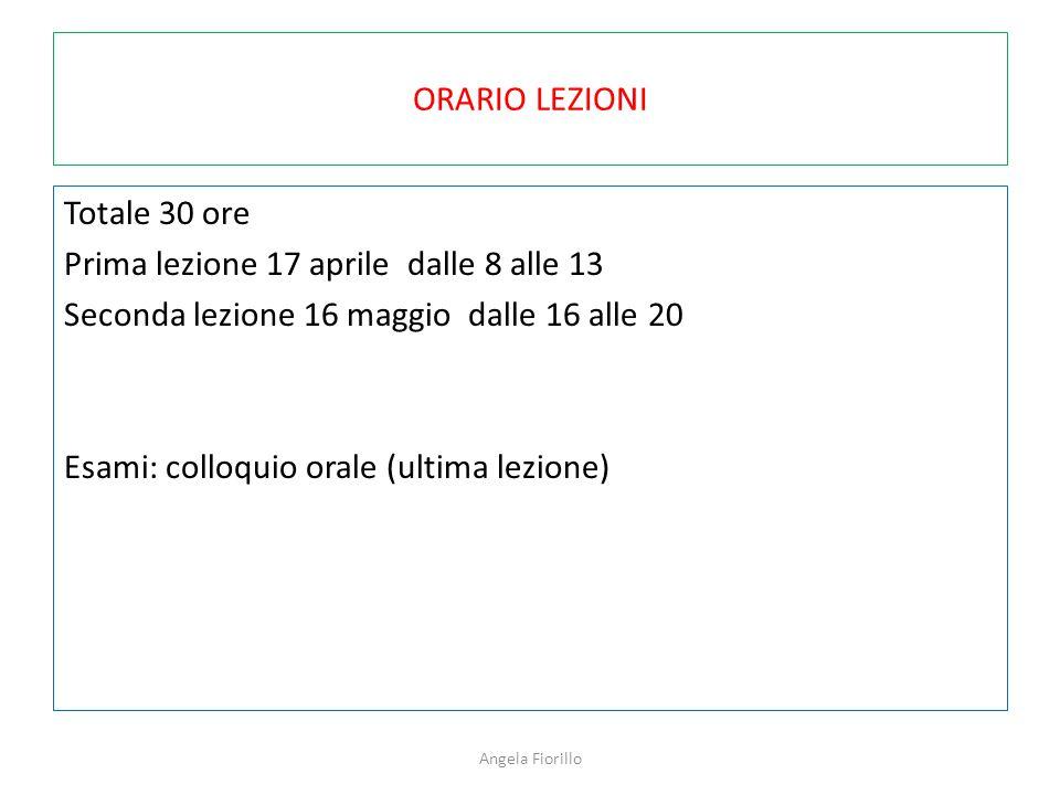 ORARIO LEZIONI Totale 30 ore Prima lezione 17 aprile dalle 8 alle 13 Seconda lezione 16 maggio dalle 16 alle 20 Esami: colloquio orale (ultima lezione