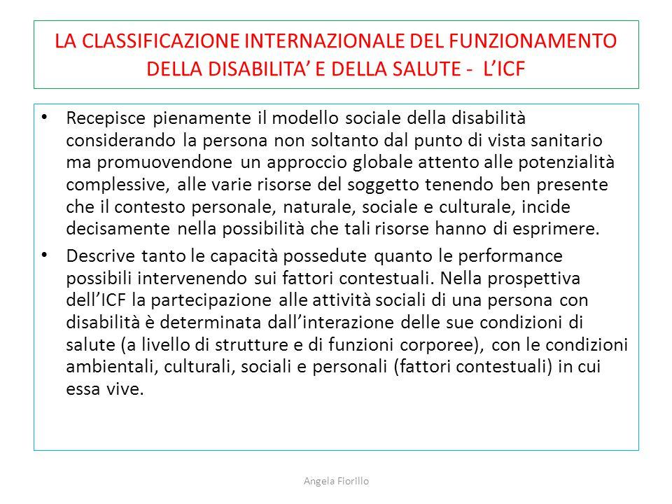 LA CLASSIFICAZIONE INTERNAZIONALE DEL FUNZIONAMENTO DELLA DISABILITA' E DELLA SALUTE - L'ICF Recepisce pienamente il modello sociale della disabilità