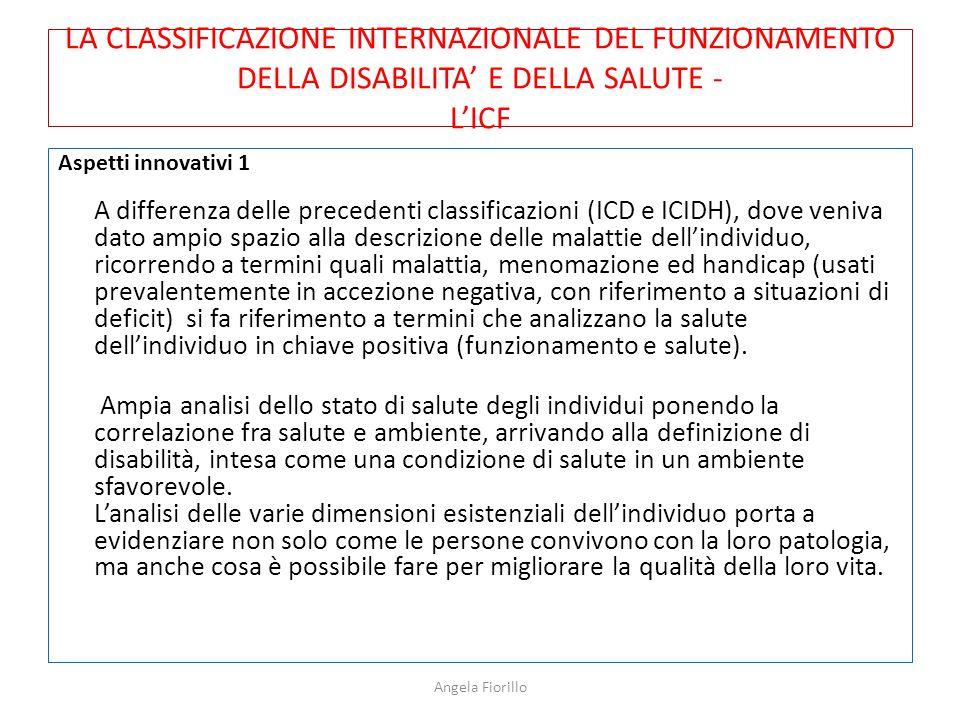 LA CLASSIFICAZIONE INTERNAZIONALE DEL FUNZIONAMENTO DELLA DISABILITA' E DELLA SALUTE - L'ICF Aspetti innovativi 1 A differenza delle precedenti classi