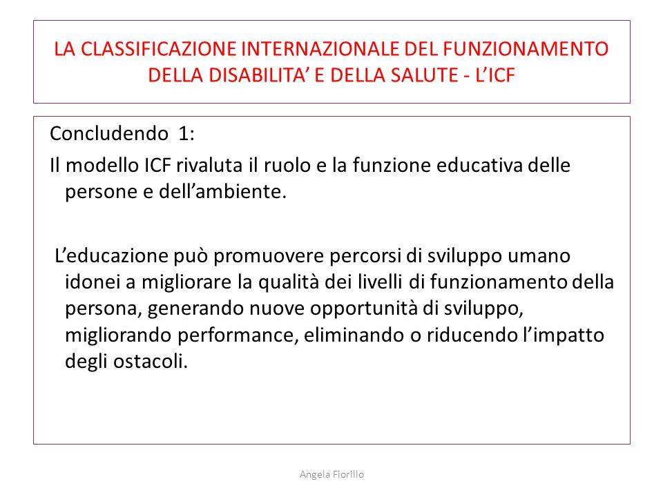 LA CLASSIFICAZIONE INTERNAZIONALE DEL FUNZIONAMENTO DELLA DISABILITA' E DELLA SALUTE - L'ICF Concludendo 1: Il modello ICF rivaluta il ruolo e la funz