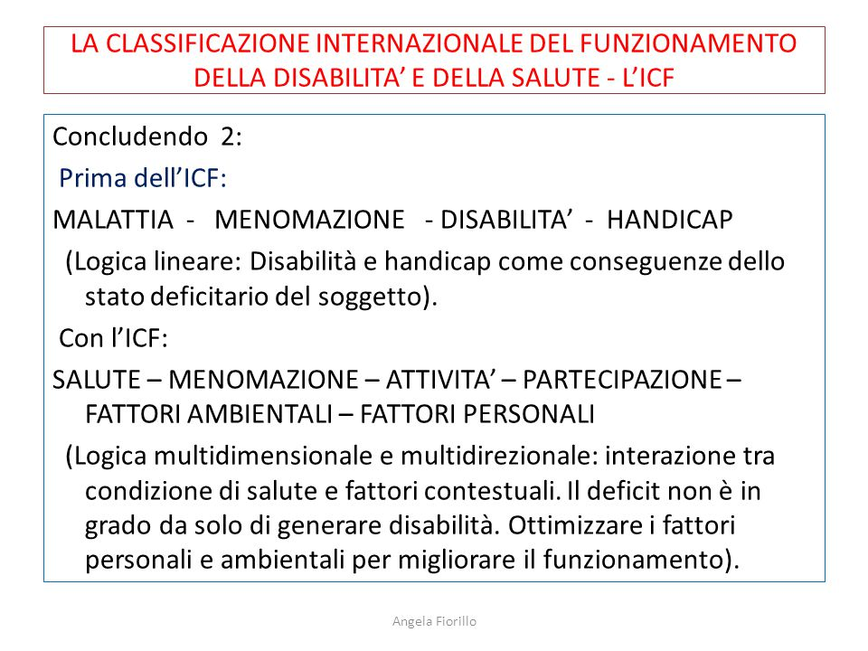 LA CLASSIFICAZIONE INTERNAZIONALE DEL FUNZIONAMENTO DELLA DISABILITA' E DELLA SALUTE - L'ICF Concludendo 2: Prima dell'ICF: MALATTIA - MENOMAZIONE - D