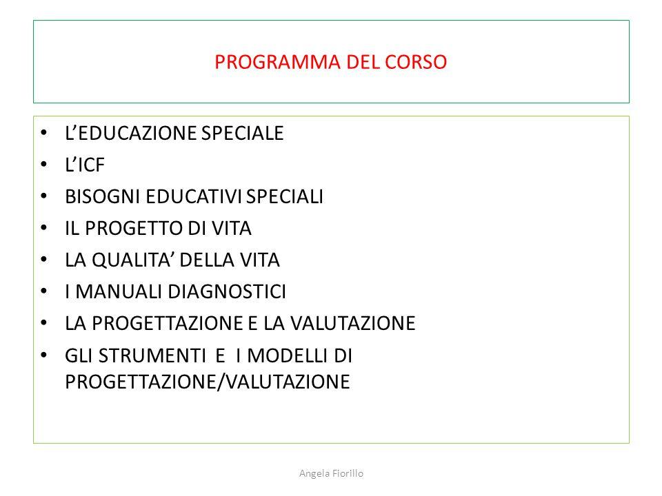 PROGRAMMA DEL CORSO L'EDUCAZIONE SPECIALE L'ICF BISOGNI EDUCATIVI SPECIALI IL PROGETTO DI VITA LA QUALITA' DELLA VITA I MANUALI DIAGNOSTICI LA PROGETT