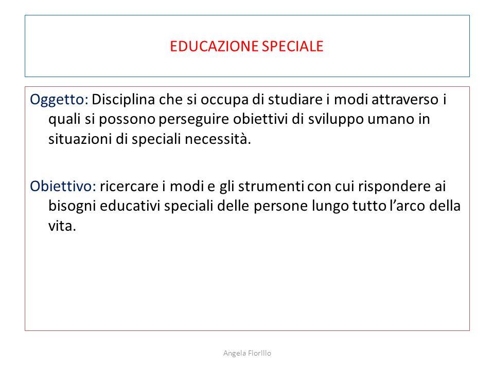 EDUCAZIONE SPECIALE Oggetto: Disciplina che si occupa di studiare i modi attraverso i quali si possono perseguire obiettivi di sviluppo umano in situa