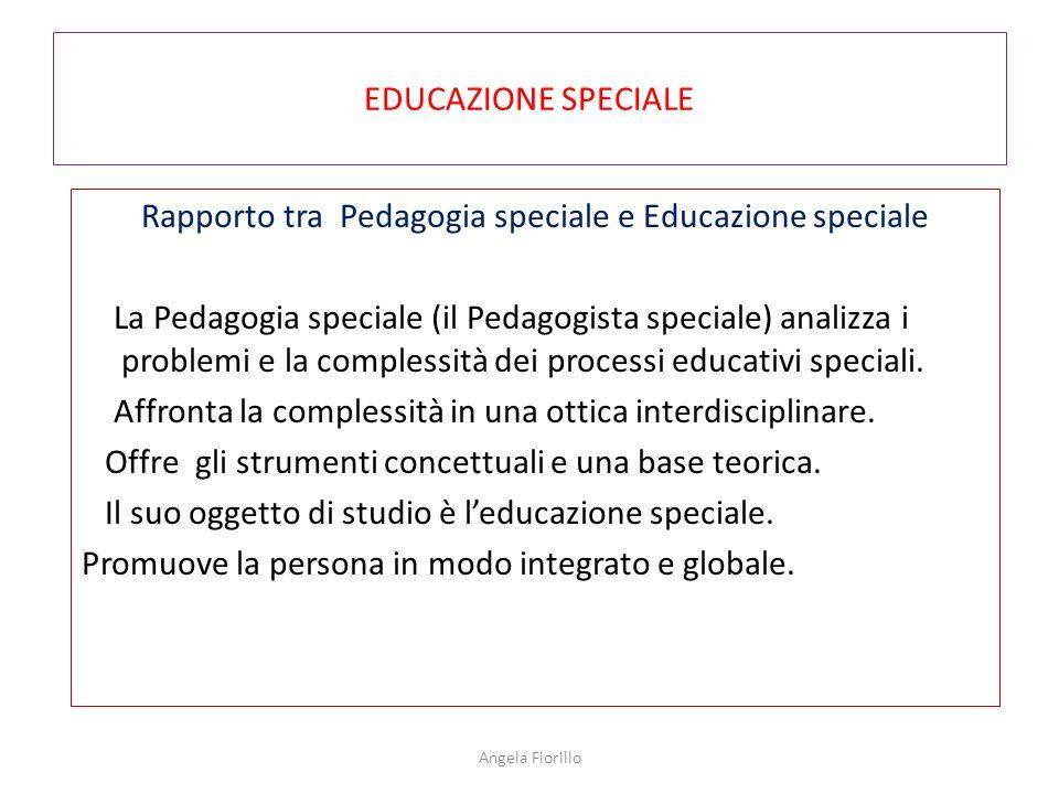 EDUCAZIONE SPECIALE Rapporto tra Pedagogia speciale e Educazione speciale La Pedagogia speciale (il Pedagogista speciale) analizza i problemi e la com