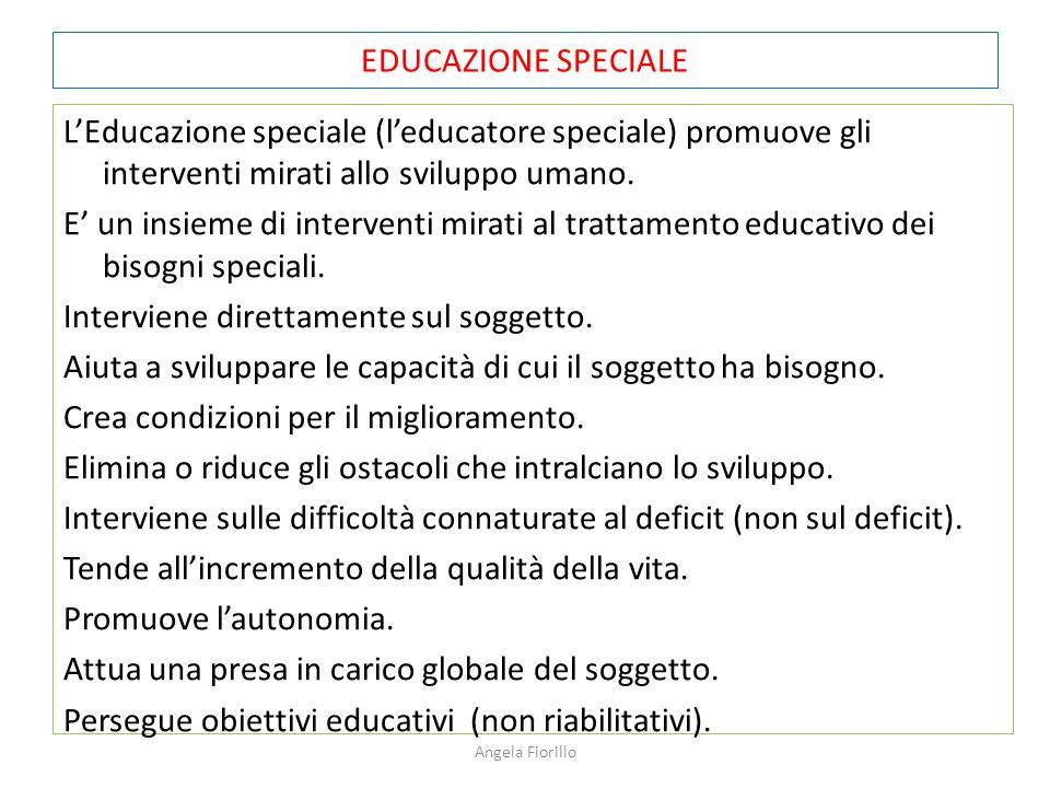 EDUCAZIONE SPECIALE L'Educazione speciale (l'educatore speciale) promuove gli interventi mirati allo sviluppo umano. E' un insieme di interventi mirat