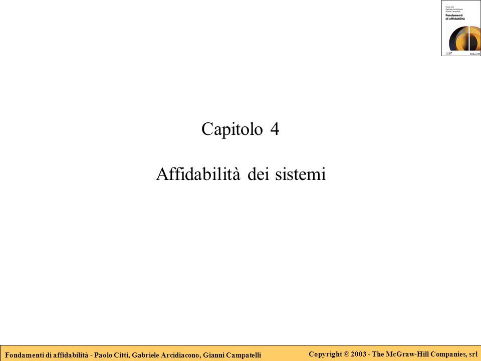 Fondamenti di affidabilità - Paolo Citti, Gabriele Arcidiacono, Gianni Campatelli Copyright © 2003 - The McGraw-Hill Companies, srl Capitolo 4 Affidab