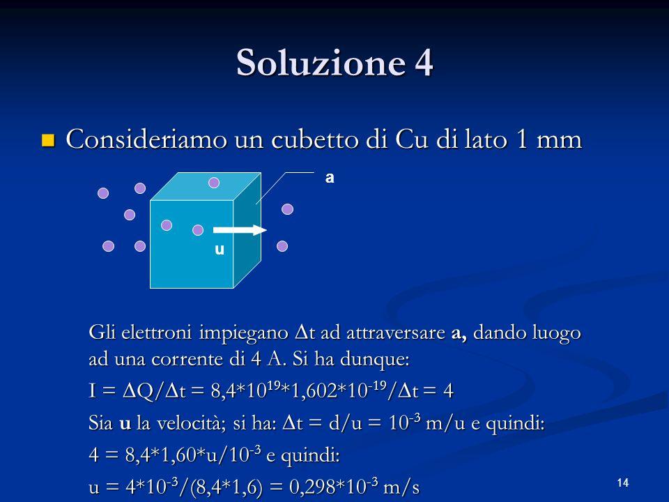 14 Soluzione 4 Consideriamo un cubetto di Cu di lato 1 mm Consideriamo un cubetto di Cu di lato 1 mm u a Gli elettroni impiegano  t ad attraversare a